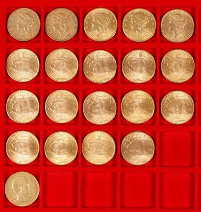 19 pièces de 20 Dollars en or et 1 pièce...