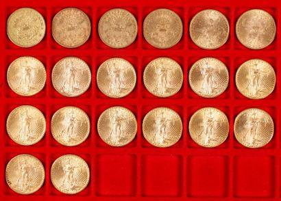 20 pièces de 20 Dollars en or, dans un sachet numéroté 2017073: - 6 pièces de 20...