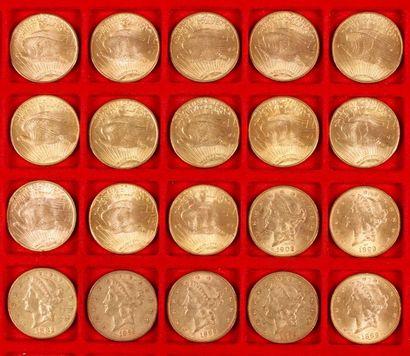 20 pièces de 20 Dollars en or, dans un sachet numéroté 2017077: - 7 pièces de 20...
