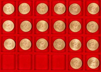 20 pièces de 10 Dollars en or. Type Liberty, dans un sachet numéroté 2017096: 1879...