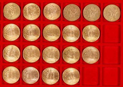 20 pièces de 20 Dollars en or, dans un sachet numéroté 2017086: - 6 pièces de 20...