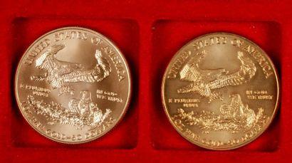 2 pièces de 50 Dollars en or. Type Eagle....