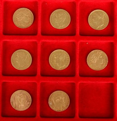 Lot de 8 pièces de 20 Francs en or : - 2 pièces de 20 Francs en or. Type Cérès....