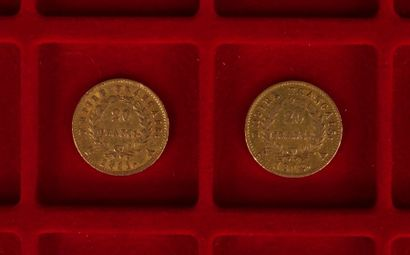 2 pièces de 20 Francs en or. Type Napoléon...