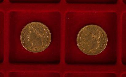 2 pièces de 20 Francs en or. Type Napoléon tête lauré. 1812 A -1811 A