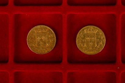 2 pièces de 20 Francs en or. Type Louis XVIII...