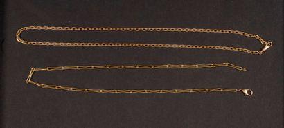 Lot de 2 chaînes en or. Poids brut : 43,6...