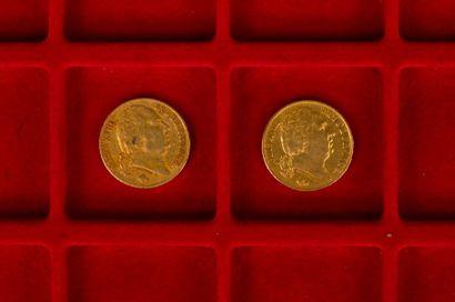 2 pièces de 20 Francs en or. Type Louis XVIII buste nu. 1817 A - 1819 A