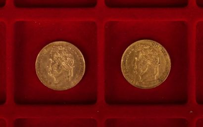 2 pièces de 20 Francs en or. Type Louis Philippe. 1840 A - 1848 A