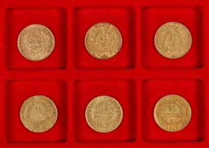6 pièces de 20 Francs en or, dans un sachet numéroté 2017171: - 3 pièces de 20 Francs...