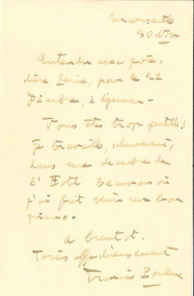 Francis POULENC (1899-1963). L.A.S., Marseille...