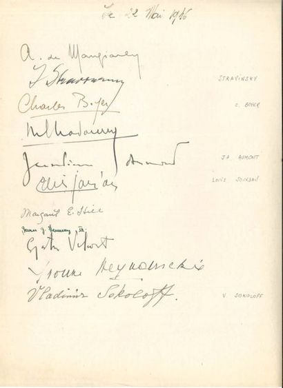 Igor STRAWINSKY (1882-1971). Signature autographe,...