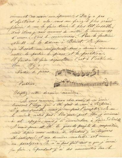Henri VIEUXTEMPS (1820-1881). 3 L.A.S., Bruxelles...
