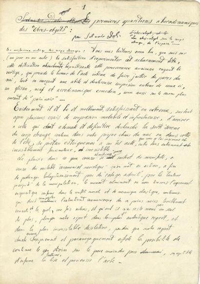 Salvador DALI. Manuscrit autographe signé,...