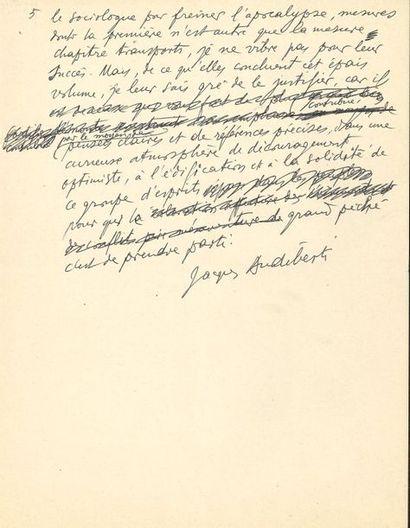Jacques AUDIBERTI (1899-1965). Manuscrit...