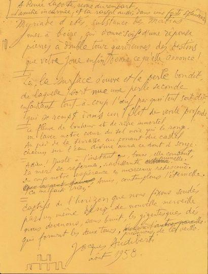 Jacques AUDIBERTI. Poème autographe signé,...