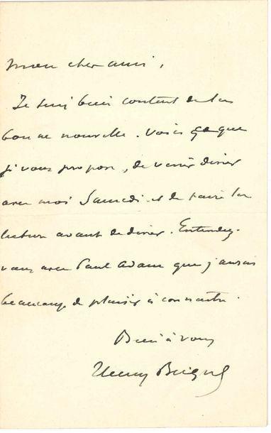 Henry BECQUE (1837-1899). 3 L.A.S.; 5 pages...