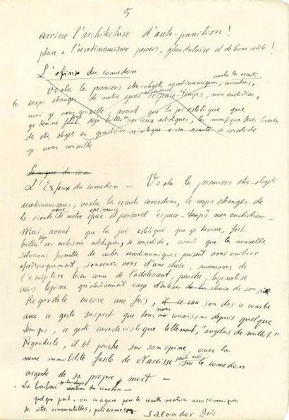 Salvador DALI. Manuscrit autographe signé, Les premieres aparitions aherodinamiques...