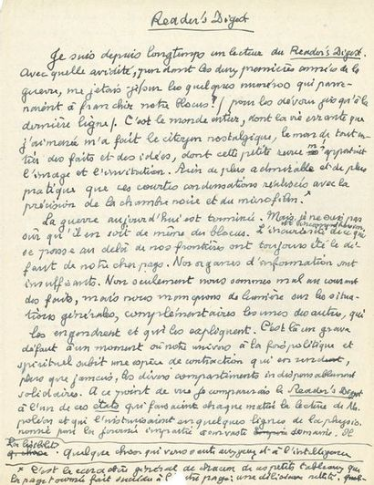 Paul CLAUDEL (1868-1955). Manuscrit autographe,...