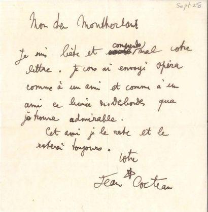 Jean COCTEAU (1889-1963). L.A.S. et P.A.S.,...