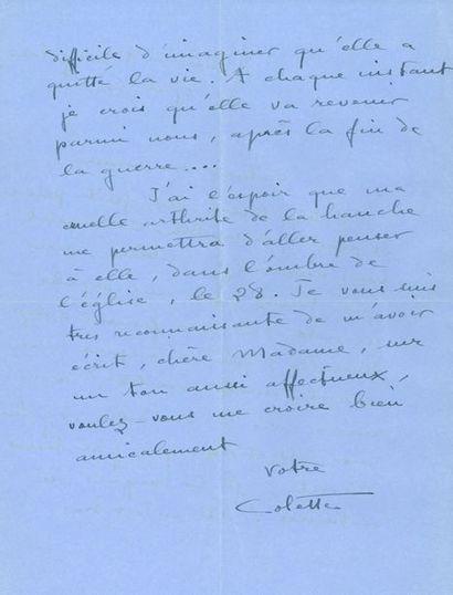 COLETTE (1873-1954). L.A.S., 9 rue de Beaujolais...