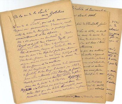 Lucien DESCAVES (1861-1949). 4 manuscrits...