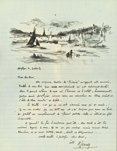 Paul-Élie GERNEZ (1888-1948). L.A.S. avec dessin, Honfleur 21 juillet 1935, à Ary...