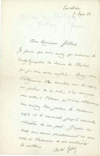 André GIDE (1869-1951). L.A.S., Cavalière...