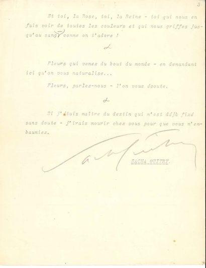 Sacha GUITRY. Tapuscrit avec signature et...