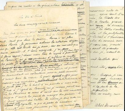 Abel HERMANT (1862-1950). 3 manuscrits autographes...