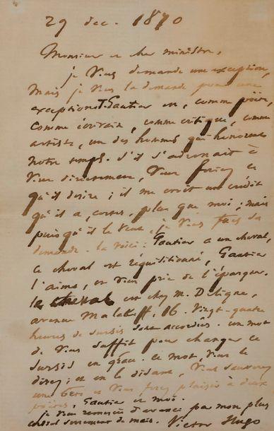 Victor Hugo. L.A.S., 29 décembre 1870, à...