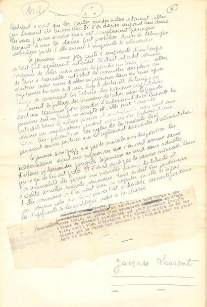 Jacques LAURENT (1919-2000). Manuscrit en...