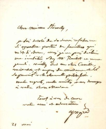Jean-Dominique INGRES. 2 L.A.S., [Paris 1850],...