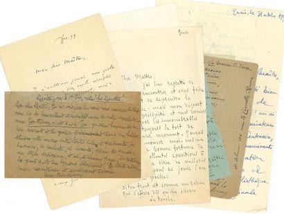Littérature. 17 L.A.S. et 2 manuscrits autographes,...