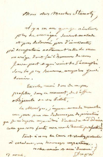 Jean-Dominique INGRES. L.A.S., Paris 17 avril [1852], au pianiste Camille Stamaty;...