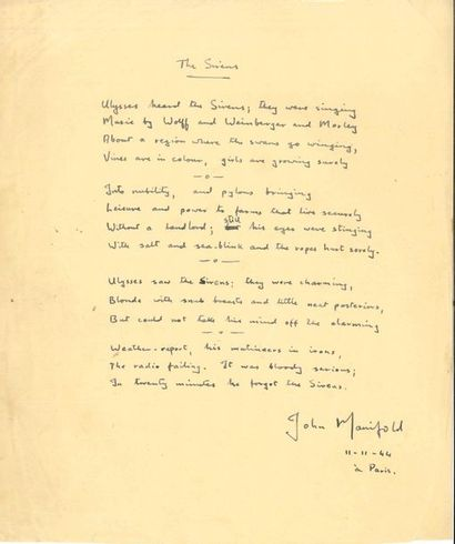 John Manifold (1915-1985) poète et musicologue...