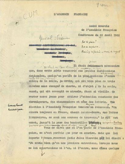 André MAUROIS (1885-1967). Tapuscrit avec...