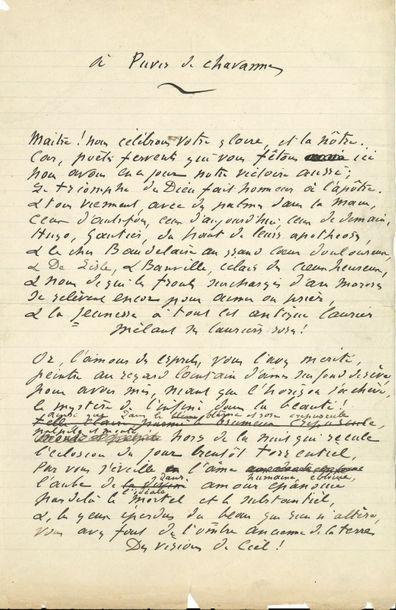 Catulle MENDèS (1841-1909). Poème autographe...