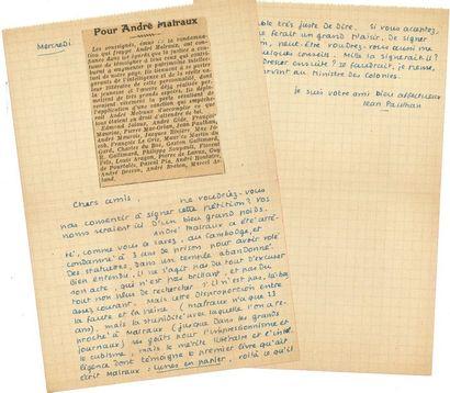 Jean PAULHAN (1884-1968). 3 L.A.S., 1915-[1924,...