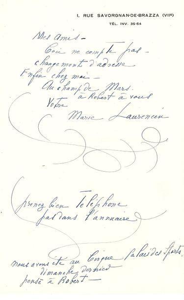 Marie Laurencin (1883-1956). L.A.S., à des...