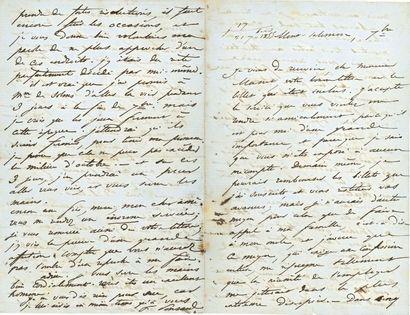 François PONSARD (1814-1867). 10 L.A.S.,...