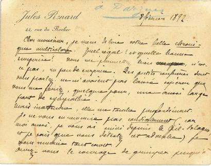 Jules RENARD (1864-1910). L.A.S., [Paris]...