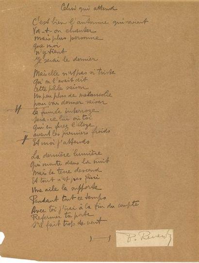 Pierre REVERDY (1889-1960). Poème autographe...