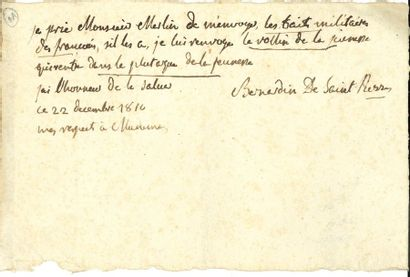 Bernardin de SAINT-PIERRE (1737-1814). L.A.S.,...