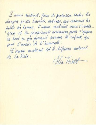 Elsa TRIOLET (1896-1970). P.A.S.; demi-page...