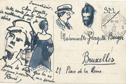 René Magritte (1898-1967). Carte postale a.s. «René» avec dessins à la plume,...
