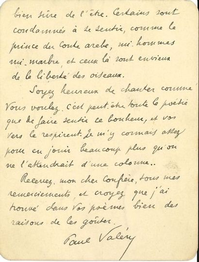 Paul VALÉRY (1871-1945). L.A.S., Paris Vendredi,...