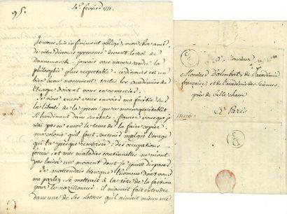 VOLTAIRE (1694-1778). 2 lettres dictées,...