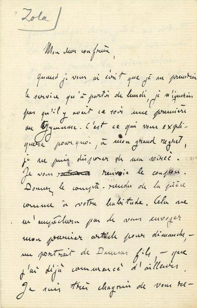 Émile ZOLA (1840-1902). L.A.S., [4 avril?...