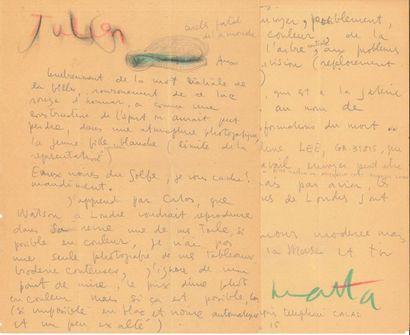 Roberto MATTA (1911-2002). L.A.S. avec dessin, au galeriste Julien Lévy; 2 pages...